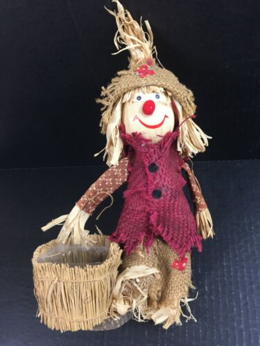"""Vintage Fall Thanksgiving 14"""" SCARECROW GIRL LADY Lucie Sable Imports Halloween"""