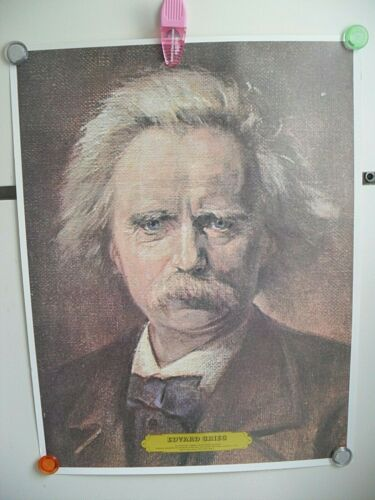 "Vtg 1976 EDVARD HAGERUP GRIEG 22.5"" POSTER /BIO Music COMPOSER PIANIST 1843-1907"