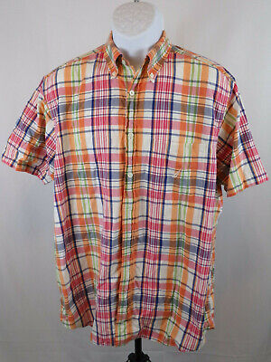 Nautica Mens Large Multicolor Plaid Short Sleeve Button Down Casual Shirt B85