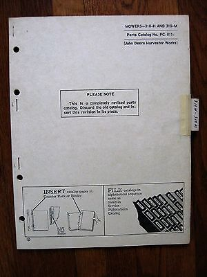John Deere 310-h 310-m Mower Parts Catalog Manual