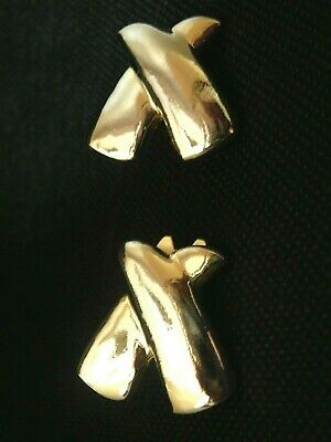 Vintage gold tone PAOLO Gucci large clip modernist kiss X earrings