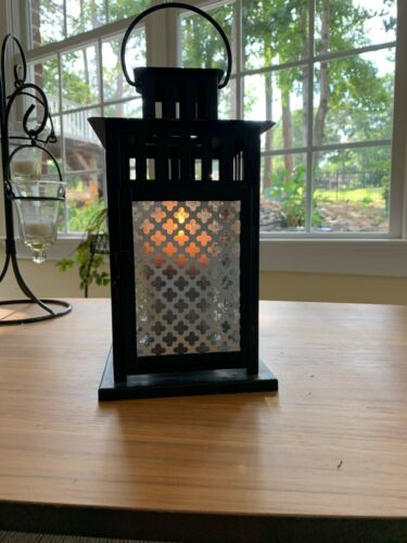 Black Outdoor Lantern with Stained Glass and Deco Metal