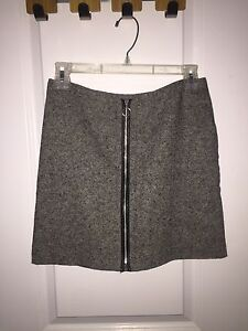 Grey and black skirt with leather zipper from Old Navy