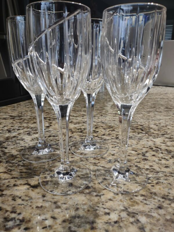 "MIKASA UPTOWN (SET OF 4) WATER GOBLETS  9""  PERFECT"
