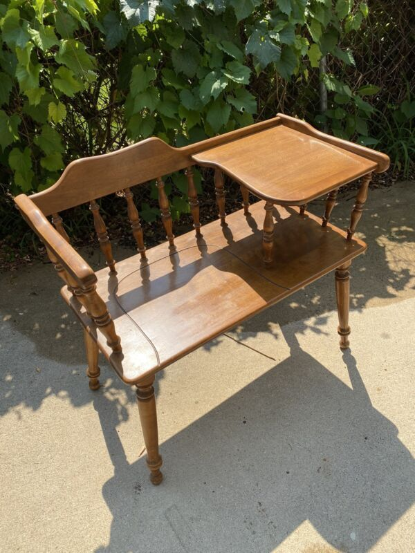 Vintage Colonial Ethan Allen Maple Wood Telephone Gossip Entryway Hall Bench