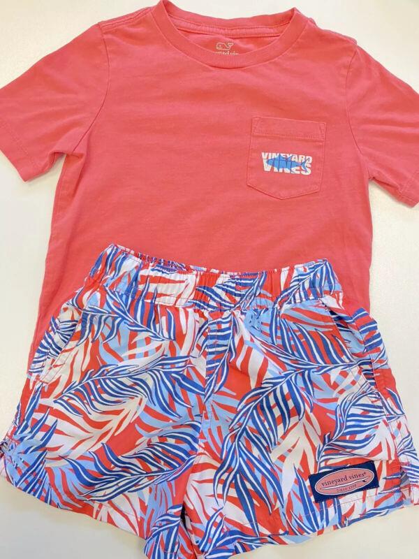 Vineyard Vines T Shirt & Bathing Suit Set 2T Shark Palm Leaves
