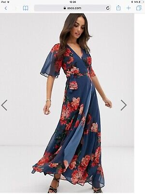 Asos Hope & Ivy Blue And Red Floral Maxi Wrap Dress With Tiered Hem Size 8