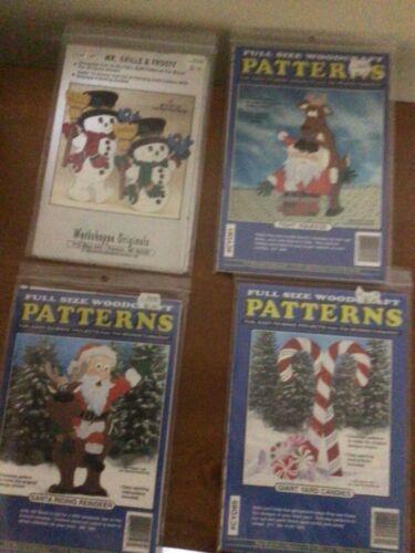 4 WOOD YARD PATTERNS WOODCRAFT WORKSHOPPE CHRISTMAS SANTA CANDY CANES SNOWMEN
