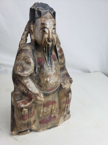 Great carved and painted stone antique chinese figurine of immortal