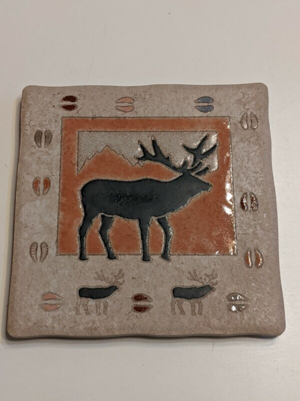 """Masterworks Handcrafted Art Tile, Elk 5.75"""" X 5.75"""""""