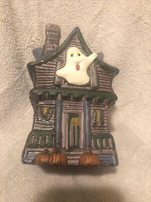 Vtg Halloween Holland Mold Planter 1989 Ghost Spooky haunted house Pumpkin