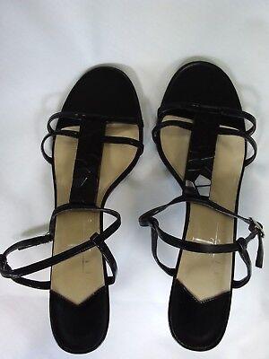 (STUDIO - Women's Black Heeled Strappy Sandals T-design - Size 9 1/2 M)