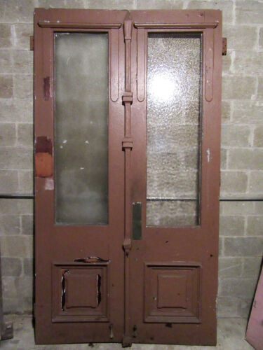 ~ HUGE ANTIQUE WALNUT DOUBLE ENTRANCE FRENCH DOORS ~ 59 X 107 ~ SALVAGE