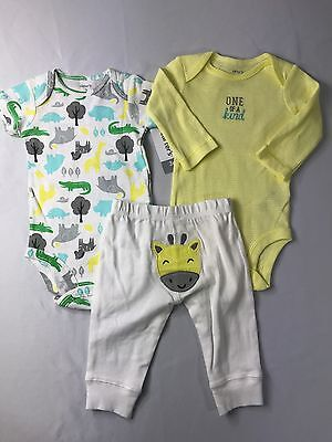 Zoo Animal Outfits (NWT Baby Boy 3 Months 3 Pc Outfit Set Carter's Zoo Animals Bodysuits)