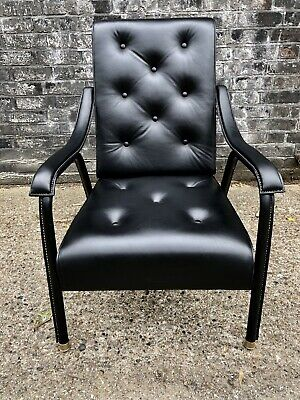 Jacques Adnet Black Hand Stitched Leather Armchair RARE Designer 50s Mid Century