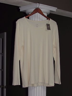 J JILL Perfect Pima Ivory Long Sleeve 100% Pima Cotton Tee Shirt Size L NWT $39