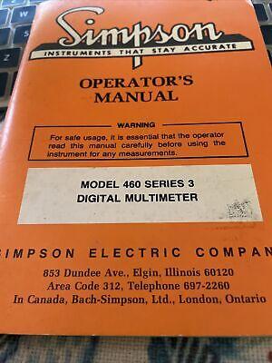 Original Simpson Model 460 Series 3 Digital Multimeter Operators Manual