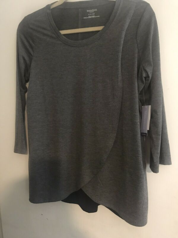 Motherhood Nursing Top Womens Size Small Charcoal gray & Black New With Tags
