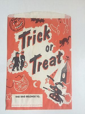 Vintage Large Halloween Treat Paper Bag w/ Witch Cat and Trick or Treaters (Halloween Paper Bag)
