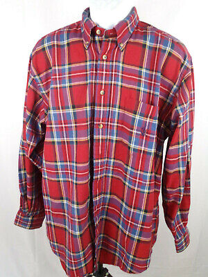 Nautica Mens Large Red Blue Plaid Long Sleeve Button Down Casual Shirt A12