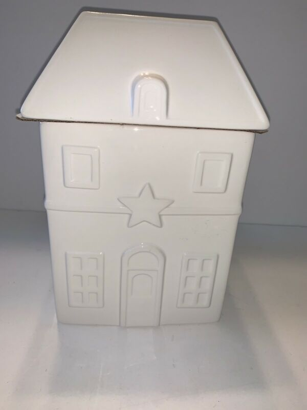 THRESHOLD Earthenware House Figural Cookie Jar WHITE NEW Tags Christmas Storage