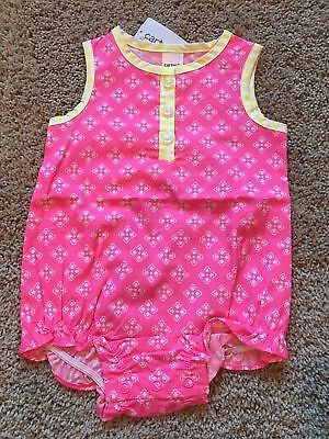 NWT Infant Girls Pink Yellow Sleeveless Romper 9 Months ()