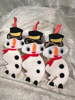 Vintage Felt Snowman Christmas Ornaments / Japan