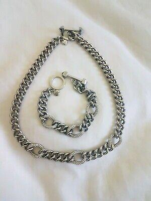 Juicy Couture Silver Pave Link Necklace/Bracelet Set
