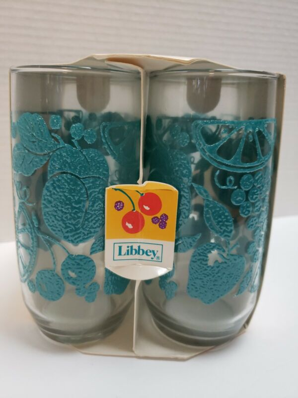 NOS Libbey FANCIFUL FRUIT Blue / Turquoise 4 - 17oz Cooler Glasses Tumblers