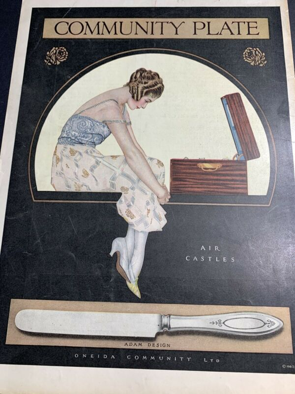 Community Plate Silverware Orig Ad 1921 Pretty Flapper Girl Coles Phillips ? ??