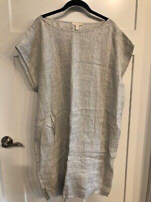 Eileen Fisher Short Sleeve Shirt Dress Organic Linen Pockets Size L