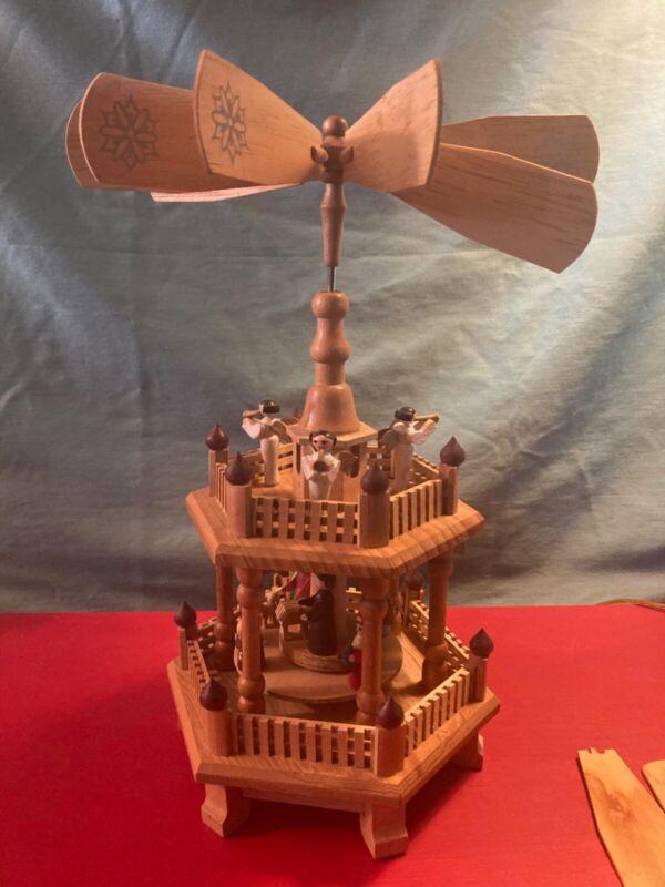 Vintage German Weihnachts 2-Tier Christmas Nativity Pyramid Carousel