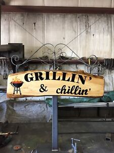 cottage signs, c.n.c steel cutout, custom trailer, welcome sign