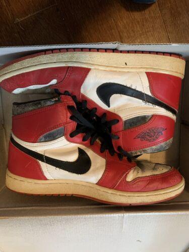 Original 1985 Air Jordan 1   Red Black And White  Size 11