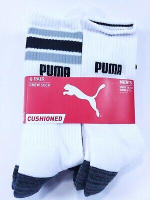 Puma Men's Crew Socks Large 6 Pack White Black Cushioned Stretch Mesh New