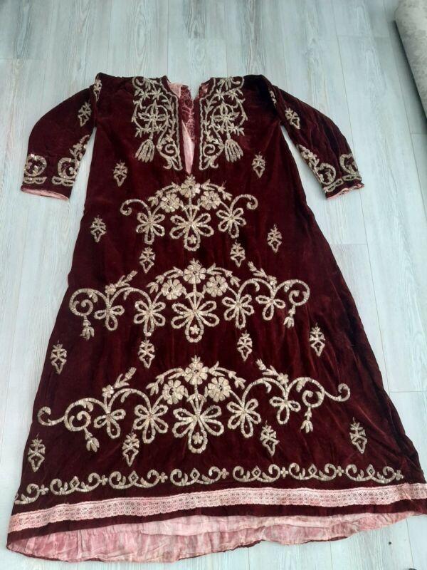 antique turkish bindalli robe with gold metallic threads