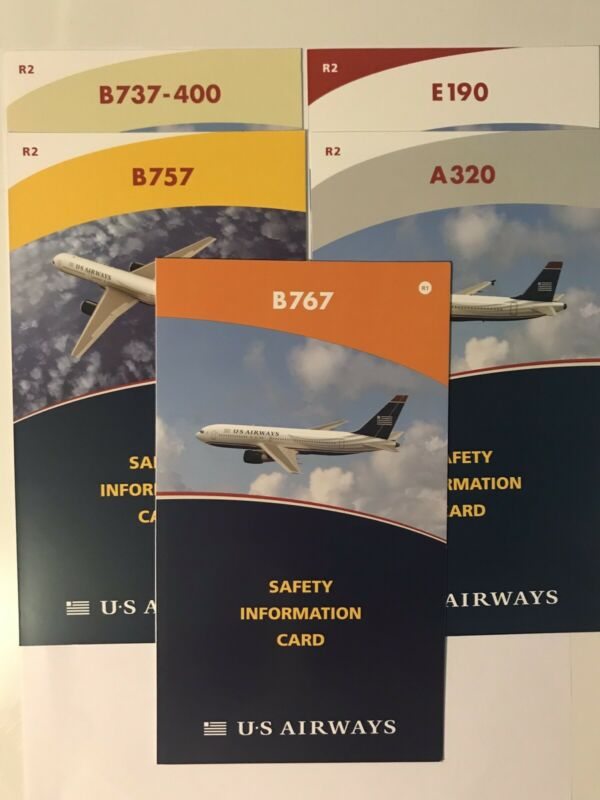 US Airways Safety Cards (Set of 5)