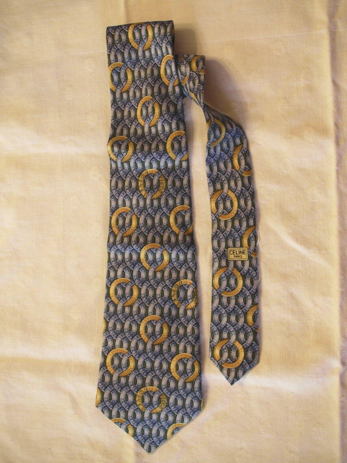 Cravate bleue en soie de la marque celine