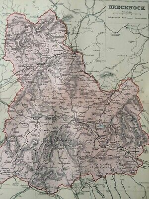 1895 Brecknock Original Antique Map UK Wales Vintage Old County