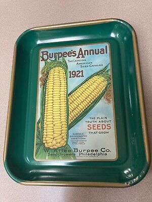 Burpee's Annual 1921 Seed Catalog Advertising Metal Tray Philadelphia Corn