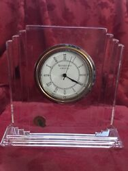 "NEW FLAWLESS Exquisite WATERFORD Crystal Desk Mantel 6 5/8"" METROPOLITAN CLOCK"