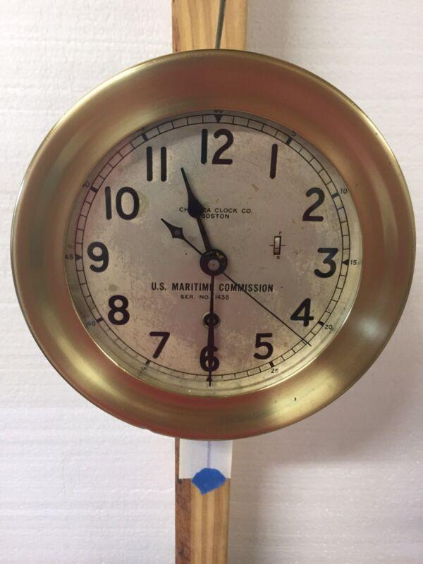 U.S. Maritime Commission Chelsea Ships Clock WWII Era