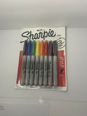Sharpie Permanent Markers Fine Point 8 Pack Assorted Colors 30217pp
