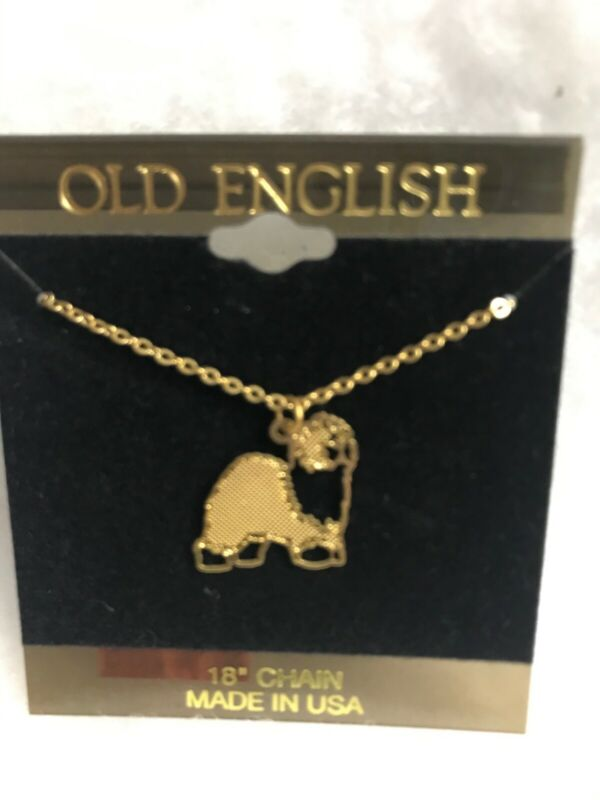 OLD ENGLISH SHEEPDOG GOLD PLATED NECKLACE