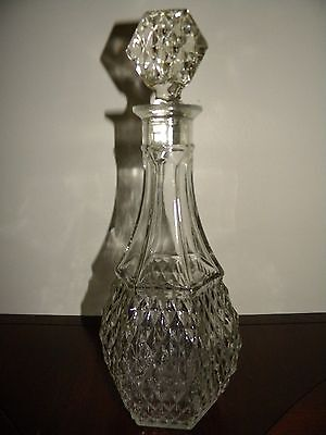 Vintage Mcm Liquor Decanter Bottle Studded Cut Diamond Clear Glass With Stopper