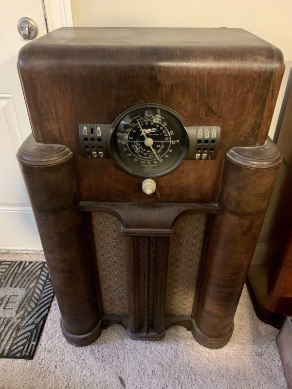 Vtg Early Tube Type Zenith Black Dial Console Radio Receiver Art Deco
