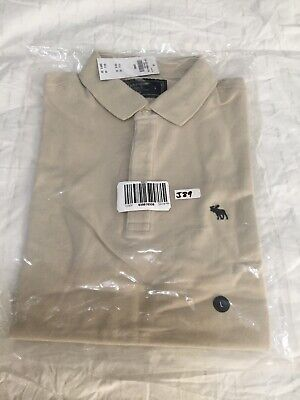 Abercrombie & Fitch, Icon Stretch Polo, L, CREAM, NWT, Free Shipping, (J89)