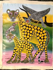 Cheetah leopard Nursery Art PAINTING Colorful PINK OIL on CANVAS