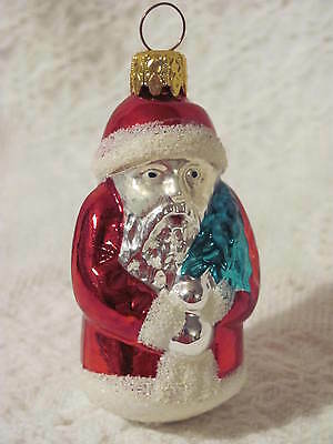 "Christmas Glass Ornament Santa with Tree, 3-1/2"" Tall 2"" Wide"