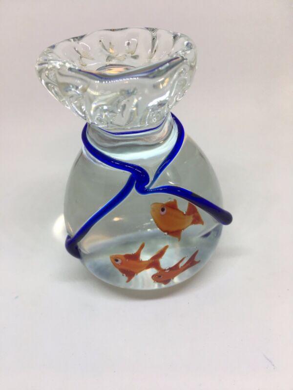 Murano Italy Art Glass Bag Goldfish Paper Weight